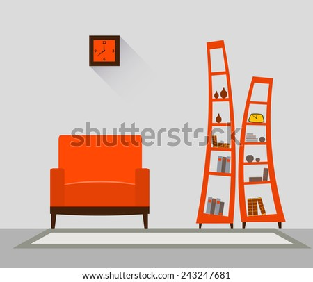 Interior of a living room. Modern flat design illustration. EPS 10 vector file. - stock vector