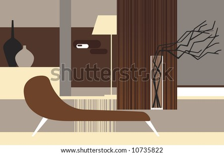 Interior of a room in retro style with dry branches - stock vector