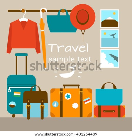 Interior of a room with travel bags. Flat design illustration