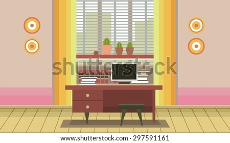 interior of an office desk near a window into a flat style - stock vector