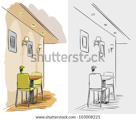 interior of cafe - stock vector