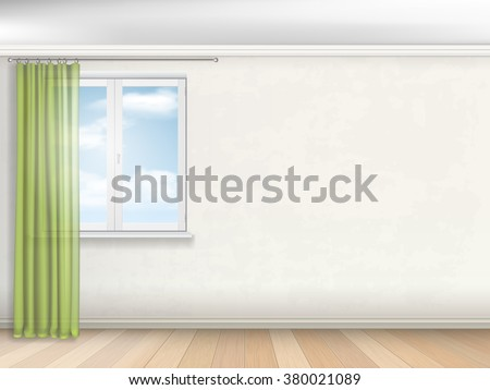 Interior of empty room. Window with green curtains on the beige wall. - stock vector
