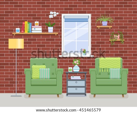 Interior of living room in flat style. Home room with two armchairs and red brick wall. Vector illustration