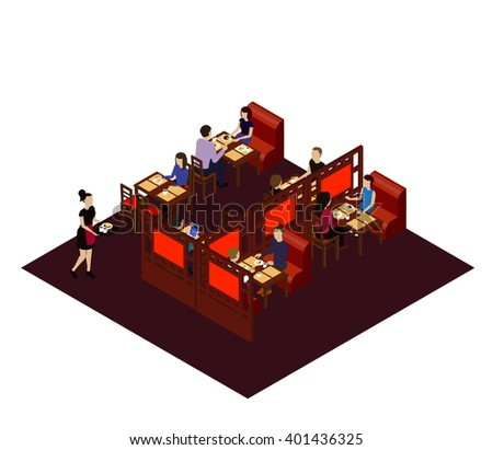 Interior of the Chinese restaurant with customers and waitress. Isometric room in the Chinese restraint. Isometric restaurant interior, flat Isometric restaurant interior. restaurant interior people