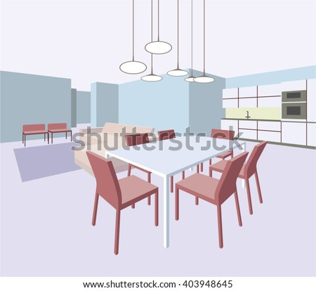 Interior of the general room with a dining table and a sofa - stock vector