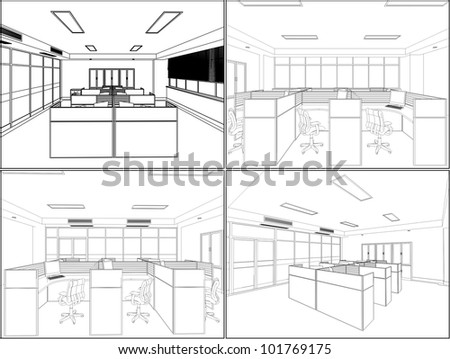 Interior Office Room Vector 10 - stock vector