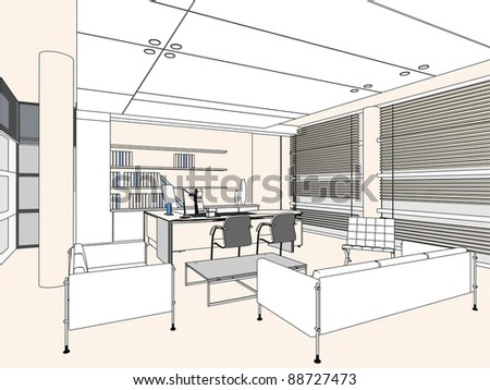 Interior Office Room Vector 04 - stock vector
