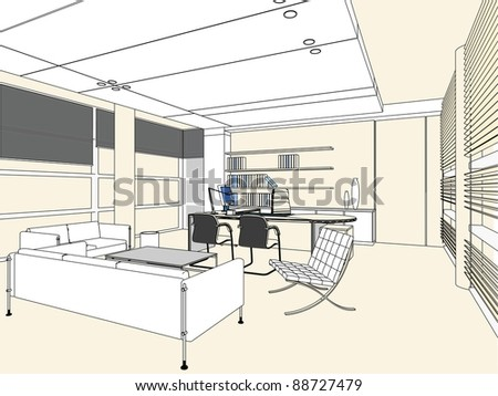 Interior Office Room Vector 03 - stock vector