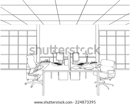 Interior Office Rooms Vector 13 - stock vector