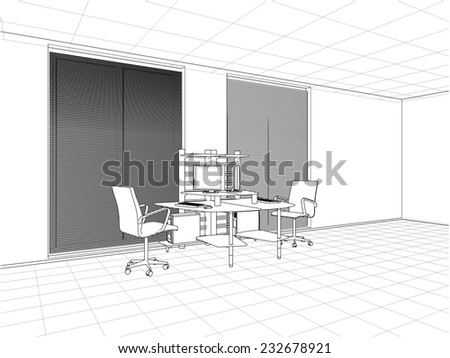 Interior Office Rooms Vector 23 - stock vector