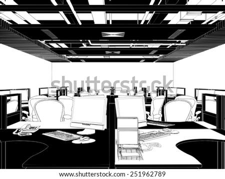 Interior Office Rooms Vector 26 - stock vector
