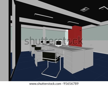 Interior Office Rooms Vector 08 - stock vector