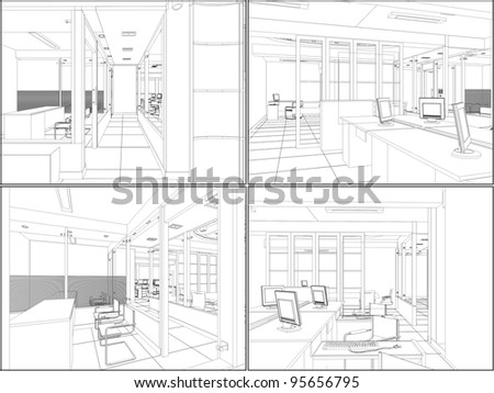 Interior Office Rooms Vector 06 - stock vector