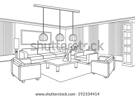 Interior outline sketch furniture blueprint vector de stock192104414 furniture blueprint malvernweather Images