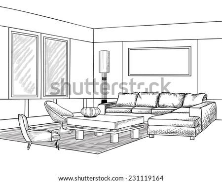 Blueprint Interior Design interior outline sketch furniture blueprint stock vector 231119164