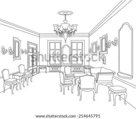 Interior outline sketch. Furniture blueprint. Architectural design. Living room - stock vector