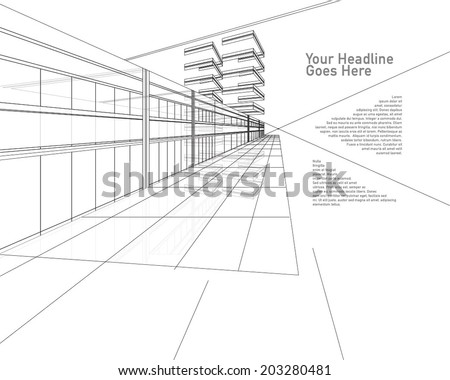 Interior outlined - stock vector