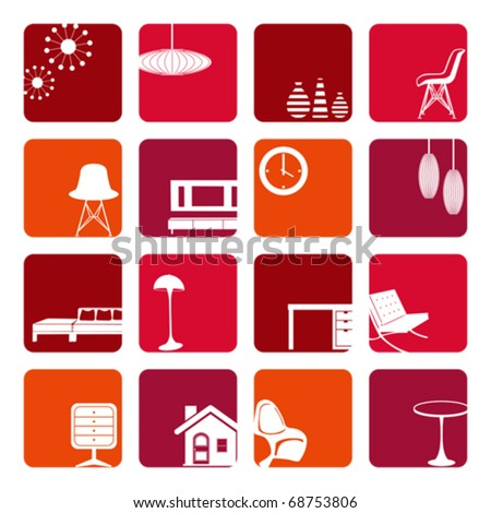 Interior Red Ornaments set. Illustration vector. - stock vector