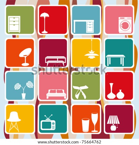 Interior retro ornaments set. Illustration vector. - stock vector