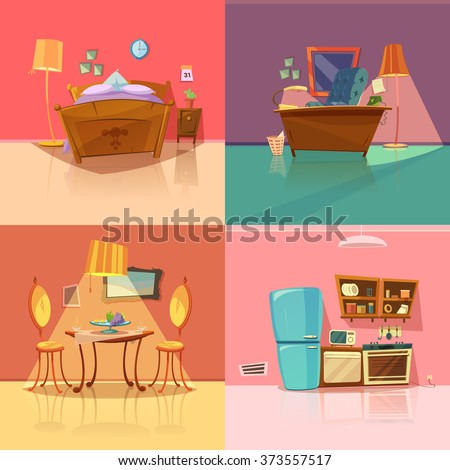 Interior Retro Set With Bedroom Dining Room Office And Kitchen Cartoon Isolated Vector Illustration