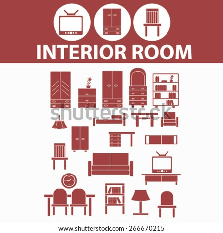 interior room, furniture isolated icons, signs, illustrations concept website internet design set, vector - stock vector