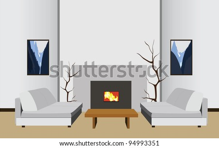 interior room with fireplace, vector illustration - stock vector