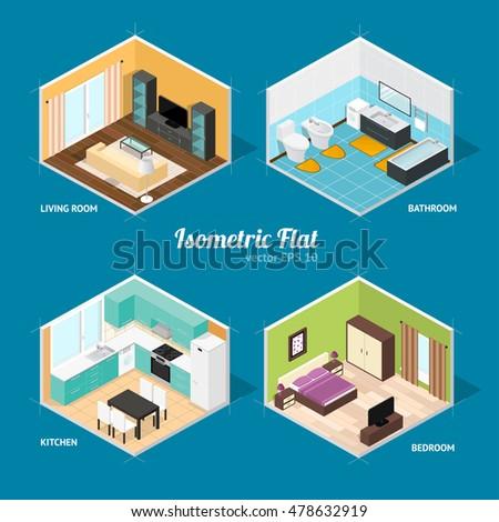 Livingroom Bathroom Bedroom And Kitchen Isometric View