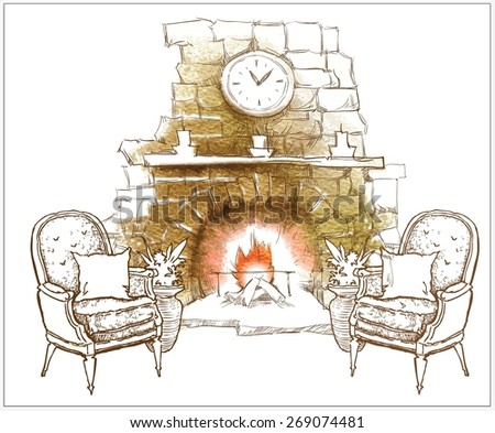 Interior sketch of fireplace - stock vector