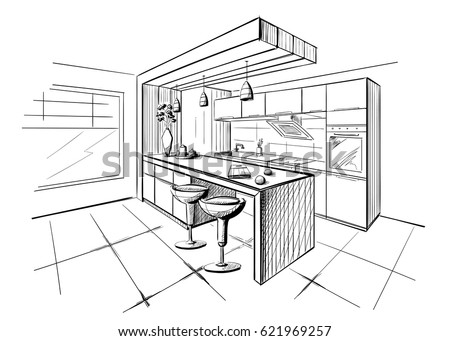 Interior Sketch Modern Kitchen Island 621969257