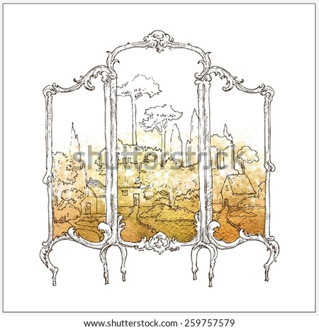 Interior sketch of screen - stock vector