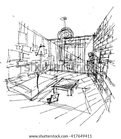 interior sketch version 2 stock vector 417649411 - shutterstock