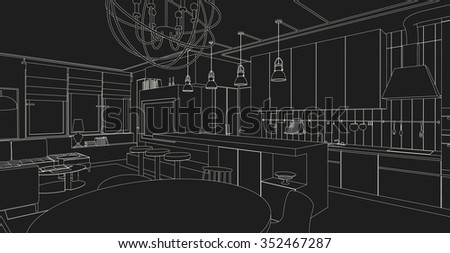 Interior Vector Drawing On Black Background Architectural Design Living Room
