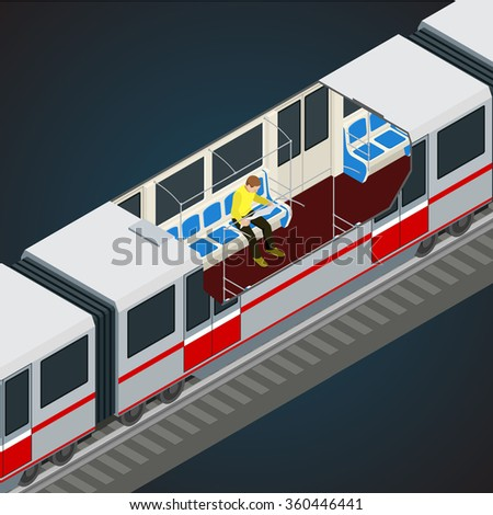Interior view of a subway. Train, Subway. Transport. Vehicles designed to carry large numbers of passengers.  Flat 3d vector isometric illustration of a subway train.  - stock vector