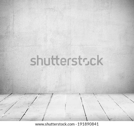Interior, vintage background of stone wall and wooden floor. Vector illustration