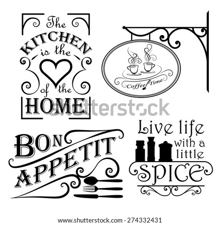 Interior wall design set mostly for the kitchen - stock vector