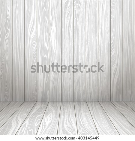 Interior white room with wooden wall and floor. Wooden interior. Vector illustration EPS 10. - stock vector