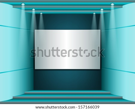 Interior with a white screen, lighting and stages - stock vector