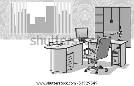 Interior with office furniture - stock vector