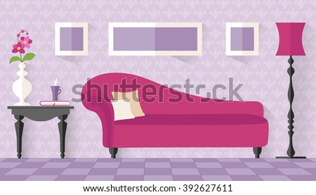 interior with pink couch in flat style living room lounge vector