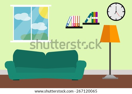 Interiors room green sofa and lamp light room design. - stock vector