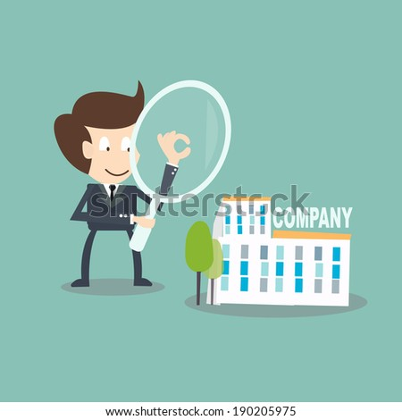 Internal Auditing concept - businessman  with magnifying audit  on company - stock vector