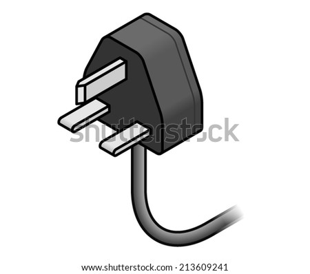 International AC power plug: UK, Singapore, Malaysia, Hong Kong. - stock vector
