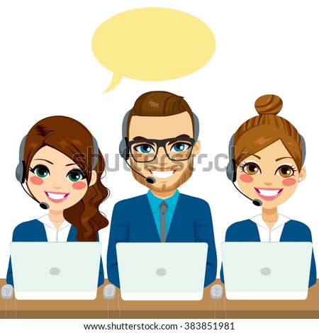 International call center service team talking with headsets and laptops - stock vector