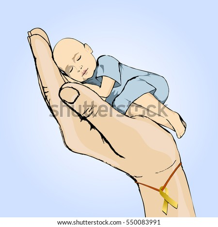 International Childhood cancer day concept. The hand symbolizes help and support to sick children. Child oncology disease