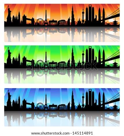 International City Skyline Silhouette vector Set artwork - stock vector