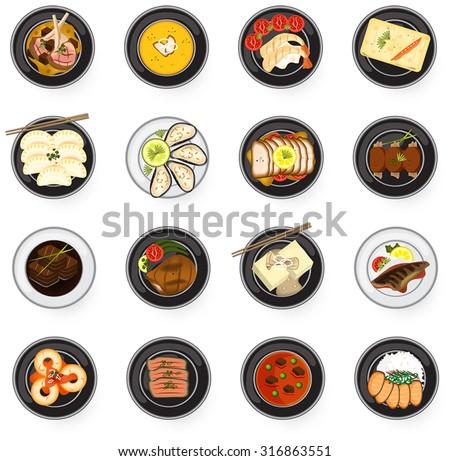 International cuisine Asian to Western gourmet food serve as main dish in restaurant such as lamb chop fish steak stew soup prawn salmon sashimi sushi gyoza dumpling tofu and oyster icon set (vector)  - stock vector