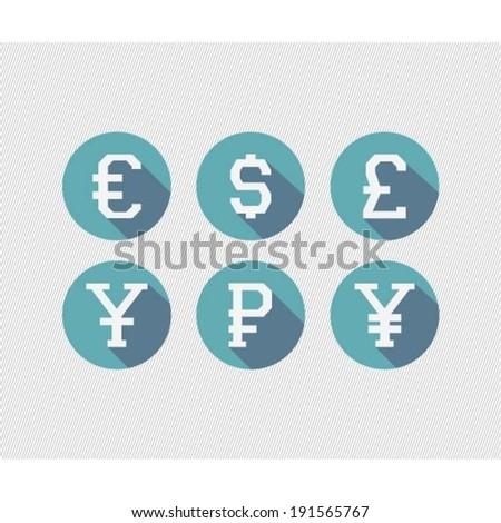 International Currency Symbols Dollar Euro British Stock Vector