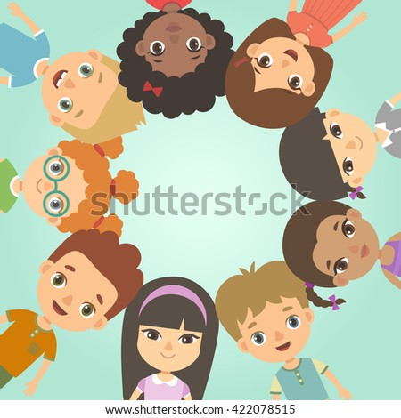 International Day of friends background. International friendship day. Multicultural kids in the circle.