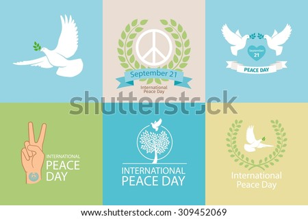 International Day of Peace Poster Templates with white dove and olive branch - stock vector