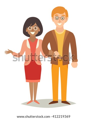 International family. Happy family. European man and african-american woman couple. Cartoon characters happy family. Flat style vector illustration isolated on white background - stock vector